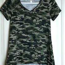Lularoe Christy T-Shirt v-Neck Xxs Green Beige Black Camo New With Tags Photo