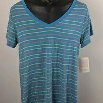 Lularoe Christy T Size Medium Stretch Blue Orange Striped Short Sleeve Shirt New Photo