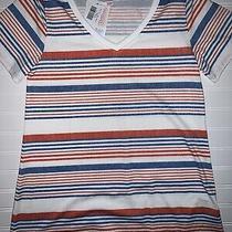 Lularoe Christy T Small 6-8 Nwt v-Neck Shirt Striped Red White & Blue Fast Ship Photo