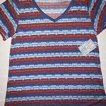 Lularoe Christy T Sz Xl 18-20 Nwt v-Neck Shirt Striped Red & Blue Fast Ship Photo