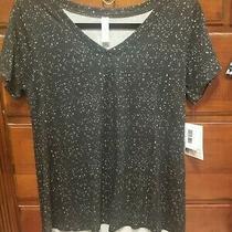 Lularoe Christy T-v Neck Black W/ White Flecksnoir Black & White Size Xs Nwt Photo