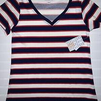 Lularoe Christy T Xs Sz 2-4 Nwt v-Neck Shirt Striped Red White & Blue Fast Ship Photo