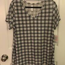 Lularoe Christy Top Black and White Plaid Size Large New With Tags Photo