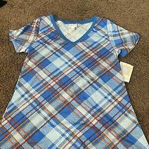 Lularoe Christy v Neck Tee T Shirt Top Blue Plaid Multi Size Xs New Photo