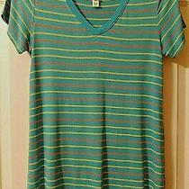 Lularoe Christy Xxs v-Neck Shirt Aqua Yellow Orange Stripes Soft-Stretchy Euc Photo