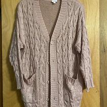 Lularoe M Lucille Sweater Cardigan Solid Pink Purple Rose Blush Oversized Pocket Photo