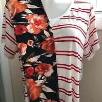 Lularoe Outfit Tc2 Roses Floral Legging & 3xl Christy T Off-White & Red Stripe Photo