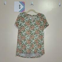Lularoe S Christy T Shirt Light Blue With Pink Roses Photo