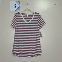 Lularoe S Christy T Shirt White and Pink Stripes Photo