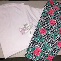 Lularoe Ss White Hudson Tee M Tc Leggings New Outfit Floral Photo