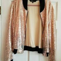 Lularoe Stevie Jacket Sequin Pink 3xl Nwt 3x Rose Gold Bomber Bling Blush Nude Photo