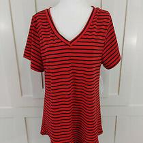 Lularoe Womens Christy T Shirt Xl Black Red Stripes v-Neck Top  Photo