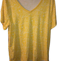 Lularoe Womens Christy T-Shirt Xl Sunflower Yellow Floral v-Neck Pre Owned Photo