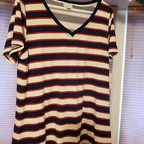 Lularoe Xl Christy New Shirt Striped Red White Blue v Neck Short Sleeve Photo