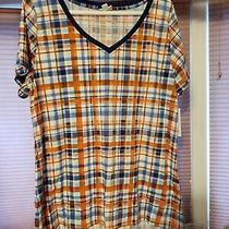 Lularoe Xl Christy New v Neck Short Sleeve Shirt Plaid Blue White Orange Photo