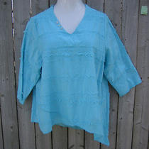 Lulu-B Beach Party Cotton L Lg Top Asym Bare Thread Blouse Aqua Turquoise Blue Photo