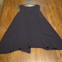 Lulu Bravo Navy 100% Silk Semi Sheer Flair Bottom Ladies Sleeveless  Dress Sz. M Photo