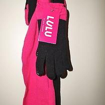Lulu by Lulu Guinness Knit Bow Infinity Scarf &touch Glove Set Black/fuchsia Nwt Photo