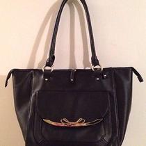 Lulu by Lulu Guinness Large Black Satchel Shoulder Bag Purse Gold Bow Photo