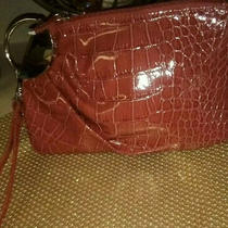 Lulu Designer Women's Red Vegan Patent Leather Croc Clutch  Wristlet Purse Photo