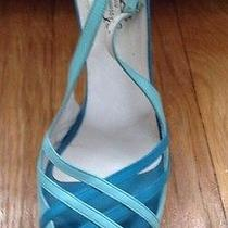Lulu Guiness London Aqua & Turquiose Slingback Sandal Heel Made in Spain Photo