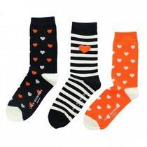 Lulu Guinness 3 Pairs Socks Orange Heart Black White Stripe Halloween 50s Goth Photo