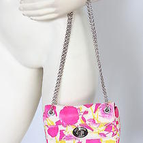 Lulu Guinness Floral Neon Roses Leather Mini Chain Purse Bag New 465 Photo