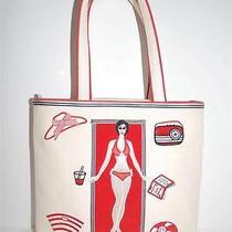 Lulu Guinness Handbag Off-White Straw Beach Bag Tote Bikini Sunbathing Beige Red Photo