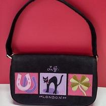 Lulu Guinness Lucky Charms Small Black Purse Handbag Horseshoe Black Cat Clover Photo