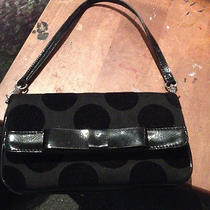 Lulu Guinness Purseclutch Black Large Polka Dot Canvas Leathervelour Dots Photo