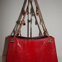 Lulu Guinness Red Python Snakeskin Leather Evening Bag Handbag Purse Photo