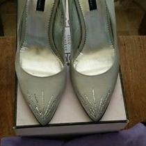 Lulu Guinness Silk Silver Pumps Perfect Wedding Shoe Size 40- Originally 325 Photo