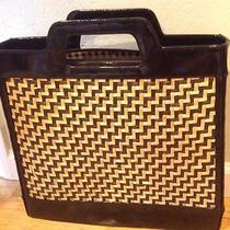 Lulu Guinness Tote Woven Straw W/black Patent Leather - Rare Photo