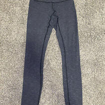 Lulu Lemon Leggings Size 2 Charcoal Grey and Striped Has Been Patched on Butt Photo