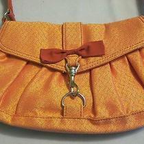 Lulu Pink and Orange Fabric Purse Handbag Bow Silver Metal Bolt Spring Hook  Photo