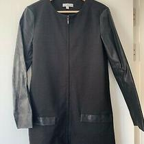 Lulu & Rose Ladies Women Black Long Coat With Faux Leather Small S (Uk 6-10) Photo