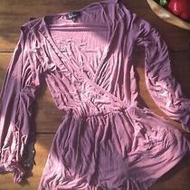 Lulus Blush Pink Long Sleeved Romper Shorts Sz Small Soft Stretch Belt Loops Photo