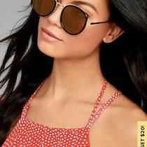 Lulus French Riviera Gold and Black Mirrored Sunglasses Photo