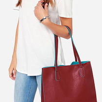 Lulu's Game Changer Turquoise and Burgundy Tote Nwt Handbag Purse Photo