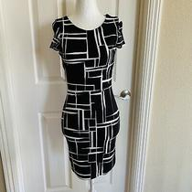 Lulu's Geometric Black & White Print Dress Size Xs Sheath Stretch Dress Photo
