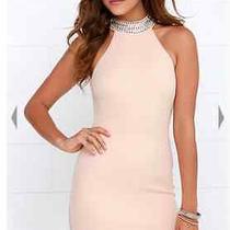 Lulus Living in Luxury Beaded Blush Halter Dress Size M Photo