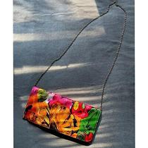 Lulu's Orange Pink Paint Streaks Bold Multi Color Clutch Crossbody Bag Purse Photo