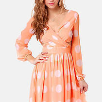 Lulu's Peach Latte Polka Dot Dress Photo