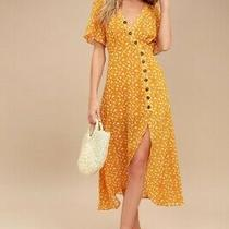 Lulus Yellow Midi Dress After Bloom Delight Golden Floral Small Photo