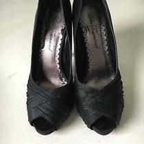 Lulu Townsend Black Satin Pleated Peep Toe Stiletto Heels Sz 6.5m Euc Photo