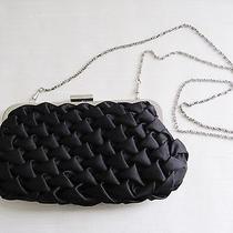 Lulu Townsend Black Satin Rhinestone Clutch Purse Bag With Silver Chain Photo