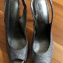 Lulu Townsend Dark Silver Glitter Open Toe Slingback Heels Size 8.5 Shoes Photo