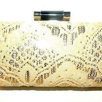 Lulu Townsend Ecru/gold Hard Shell Handbag Purse Clutch Nwt  Photo