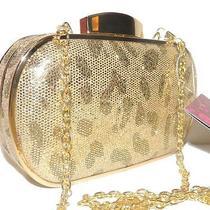 Lulu Townsend Gold Leopard Hard Shell Handbag Purse Clutch Nwt  Photo