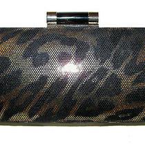 Lulu Townsend  Leopard Gold/black Hard Shell Handbag Purse Clutch Nwt  Photo
